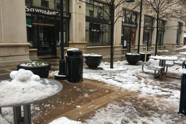 Courthouse Plaza in the snow