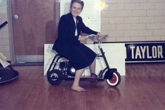 Phoebe Knipling on a scooter (courtesy Center for Local History)