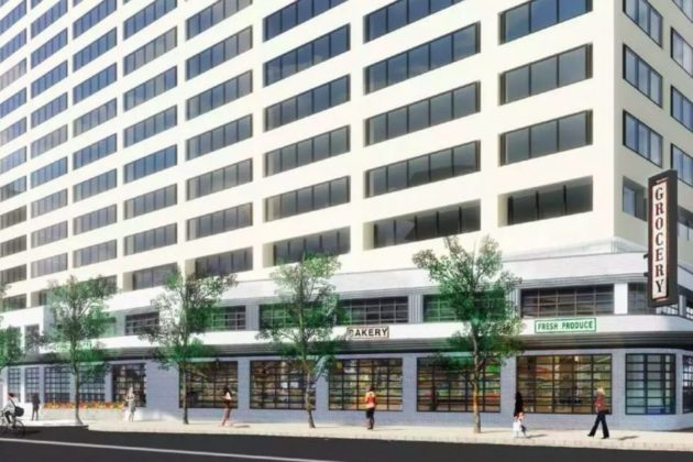 A rendering of a future Crystal City grocery and retail area (Photo via Arlington County)