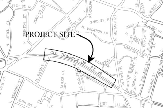Overview of the Old Dominion sidewalk project site (Map via Arlington County)
