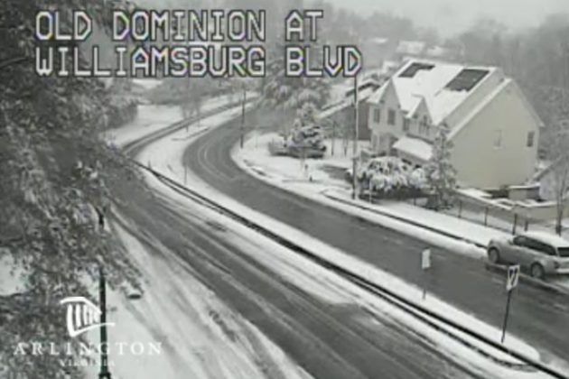 Traffic camera showing snowy conditions in North Arlington