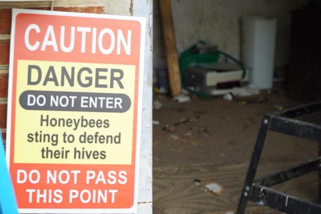 A bee warning sign (photo via Arlington County)