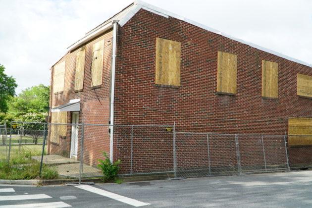 The demolished Nauck office building (photo via Arlington County)