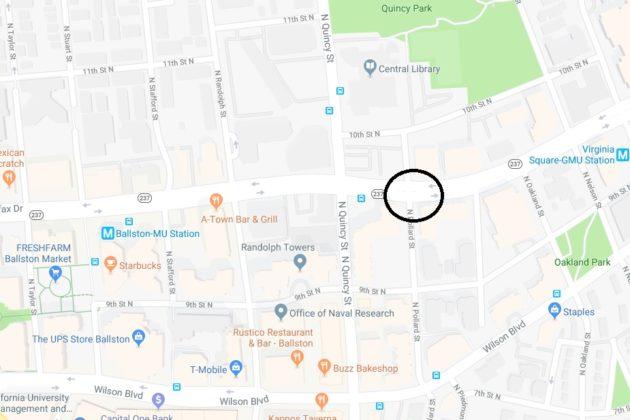Approximate Virginia Square dooring incident location (via Google Maps)